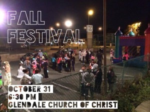 Advertisement for Fall Festival for Glendale Church of Christ